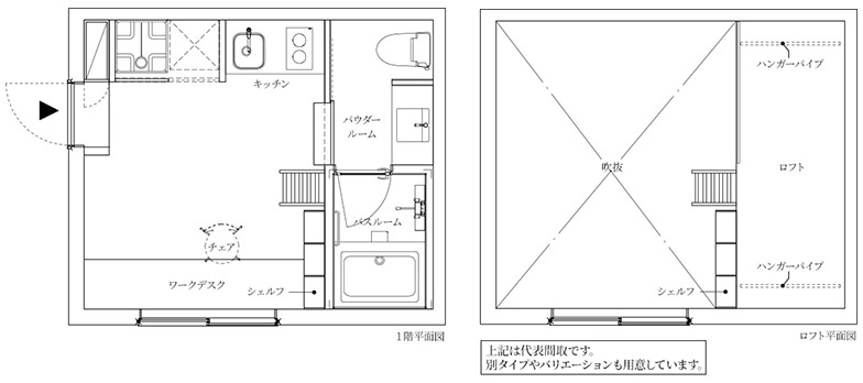 C棟 e4・e'4タイプは、専有面積15.94平米、ロフト面積4.93平米。月額賃料が7万円で、共益費1.5万円/月。最大3.5mの天井高を活かしたロフトがあり、大きめのワークデスクや収納力のある本棚、乾燥機付きのバスルームが特徴(画像提供/JR中央ラインモール)