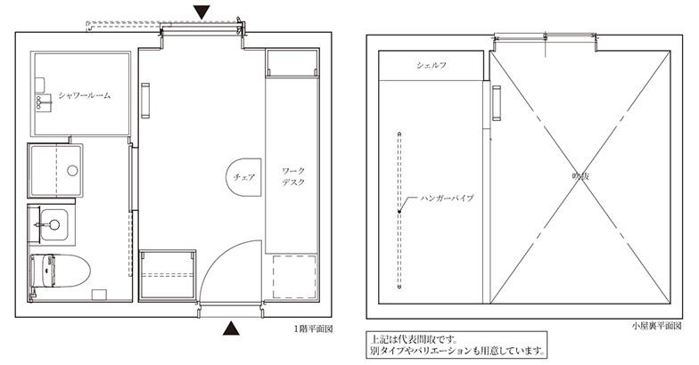 H棟Aタイプは、10.44平米という専有面積ながらも、4.35平米のロフトを設けたことで、ワークデスクの空間などゆとりを確保。月額賃料5.9万円 ~ 6.2万円、共益費1.5万円/月という設定になっている(画像提供/JR中央ラインモール)