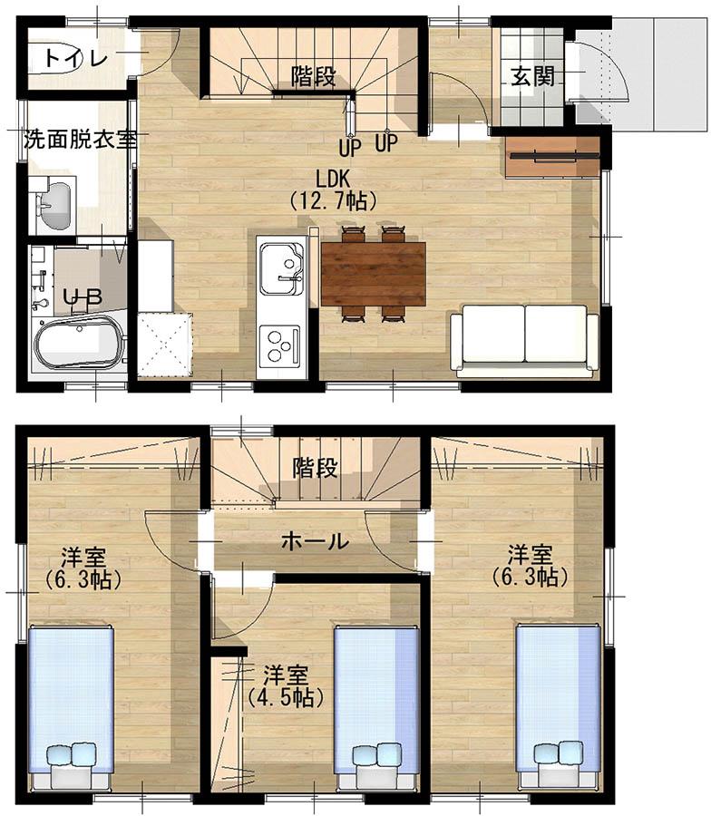 Aさん宅の間取図。リビングから廊下を経ずに階段で2階に上がれるつくりがAさんのお気に入り。2階の洋室はコンパクトながらも間仕切りで3つに仕切られているので、家族全員が個室を持つことができた(画像提供/Minoru)