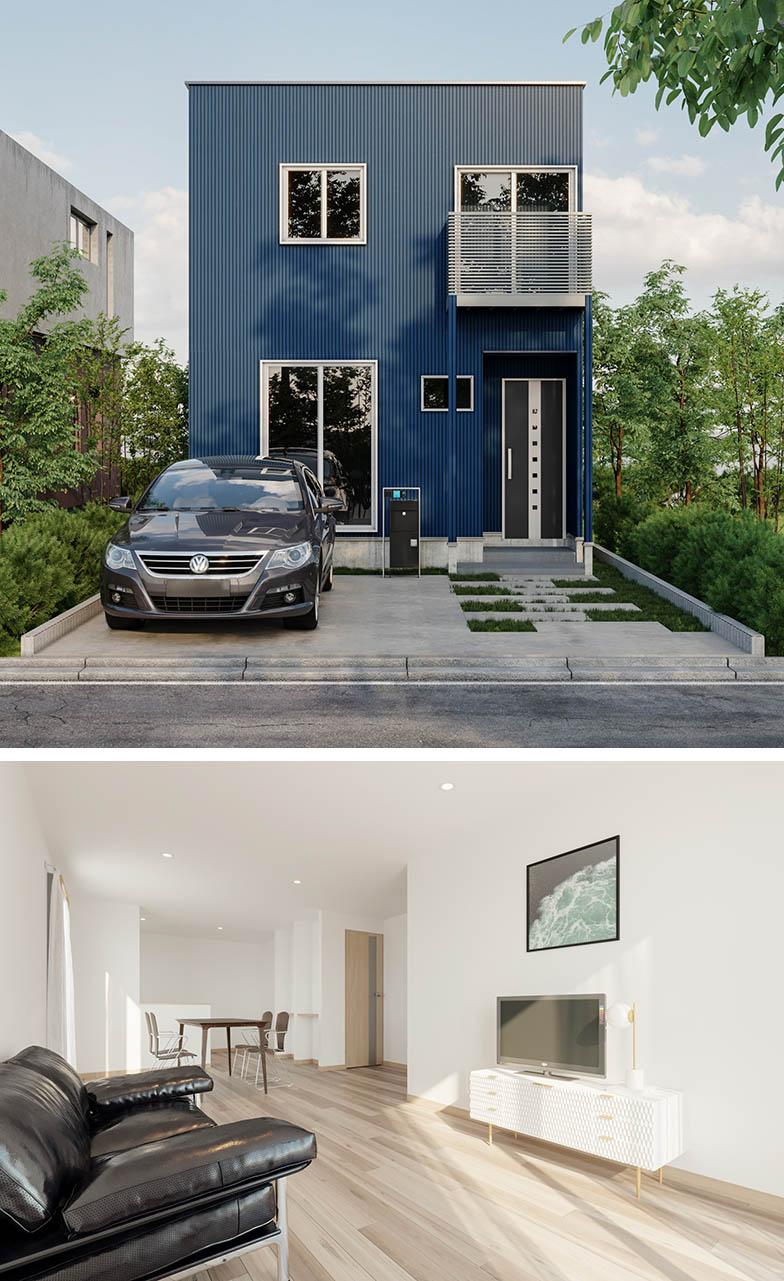 Bさんが建築を予定している一戸建ての完成予想イメージ。外壁はインパクトのあるブルーで、内装は白とベージュを基調とした明るいトーンにまとめている(画像提供/Minoru)