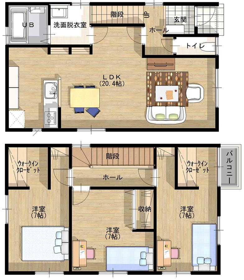 Bさんが建築を予定している一戸建ての間取図。1階に20.4畳のLDK、2階に7畳の洋室を3室確保。主寝室にはウオークインクローゼットも備えている(画像提供/Minoru)