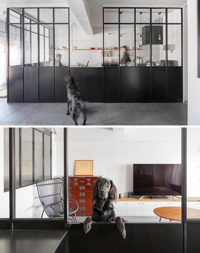 施主の食事中、元気いっぱいな愛犬と家族がストレスなく過ごせるよう、DKをケージですっぽり囲んでしまったという逆転の発想(株式会社ニューユニークス)
