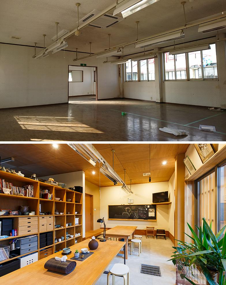 リノベーション前(上)とリノベーション後(下)の1階部分。鉄骨造のため、柱がなく広々とした空間を確保。天井も一般の住宅より高く、その分、さらに開放感のあるアトリエとなった(写真提供/結設計工房)