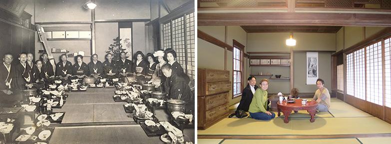 明治時代に2間続きの和室で行われた結婚式(写真左:提供元オーナー・米本弘子さん)と、現在の小泉邸に元オーナーである米本さん親子が訪ねてきた際の写真(写真右:撮影/長井純子)。全く同じ造りの和室で、岡山にいると錯覚するほどだという