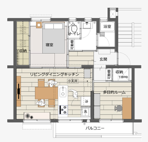 玄関からもキッチンからも入れる2way方式なので、動線も効率的だ(画像提供/MUJI×UR団地リノベーションプロジェクト)