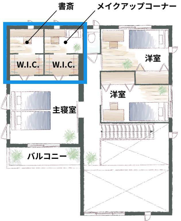 主寝室との間にウォークインクローゼットを挟んでいることで、より一層、作業に集中できる空間に(画像提供/積水化学工業)