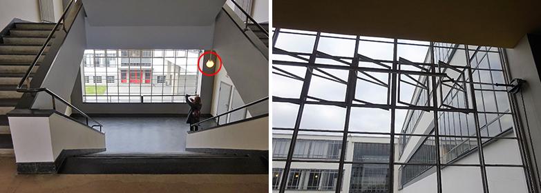 工房棟の中央階段(窓の外に見えるのは北棟の玄関)と換気窓