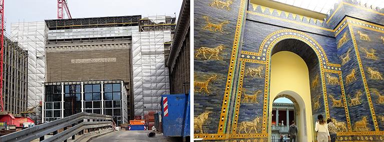 外観(改修中)と博物館内に再建されたイシュタル門