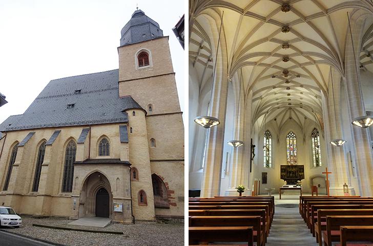 1483年11月11日にルターが洗礼を受けた聖ペトリ・パウリ教会の外観と内部