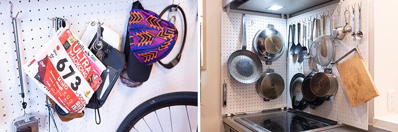 有孔ボードを利用して吊るす収納をDIY。キッチンでも使い込まれた鍋や調理道具をかけて、すぐ取り出せるように (写真撮影/片山貴博)