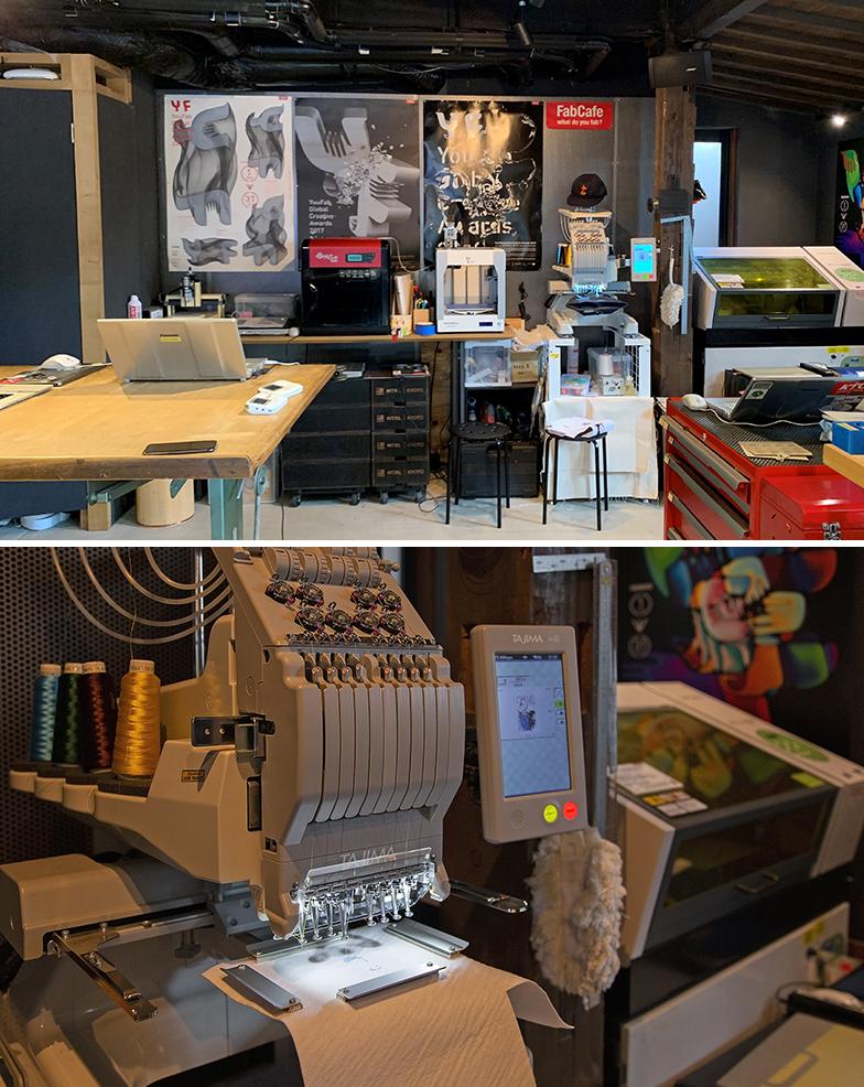 写真上/ずらりと並んだデジタル工作機器、写真下/デジタルミシン(手前)とUVプリンター(写真撮影/SUUMOジャーナル編集部(上)、出合コウ介(下))