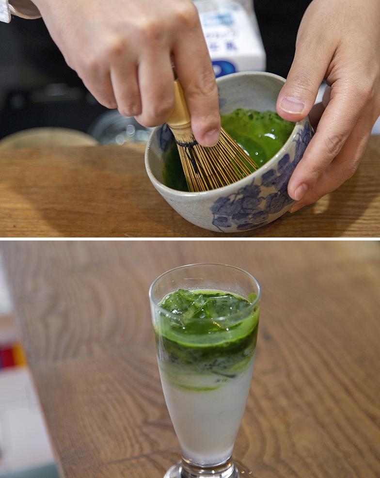 本格的に茶筅でたてる抹茶ラテ(写真撮影/出合コウ介)