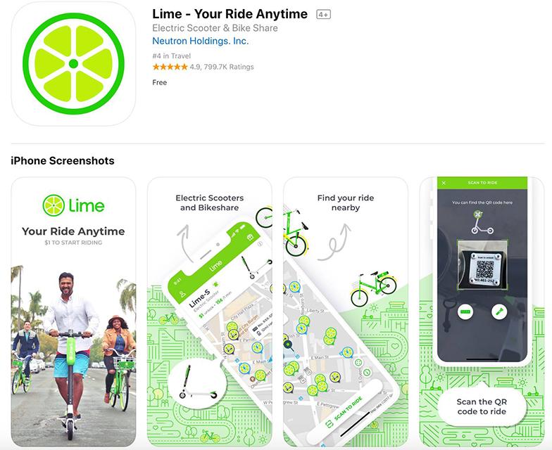 アプリを開くと周辺で利用可能な電動キックボードが表示される(Limeのサービスページより)