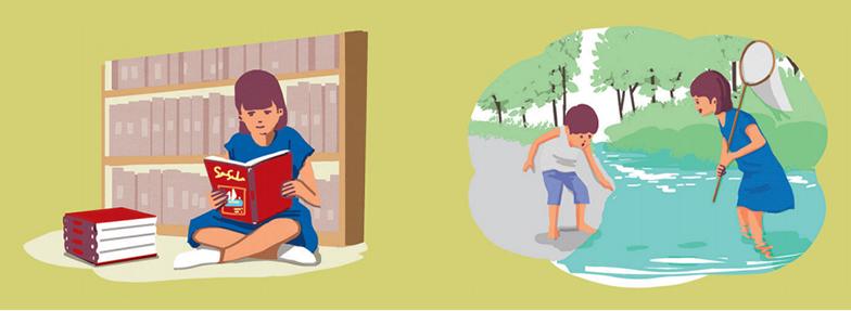 (左)『ドリトル先生航海記』はじめ、読書は冒険への入口。物語を通じて、田辺で見た海の向こうに広がる世界を想像していたという(右)家の近くの小川に棲息する生物を捕まえ観察するなかで、どこまで足を踏み入れると川が深くなるかなどを体感的に学んでいったそう(イラスト/3rdeye)
