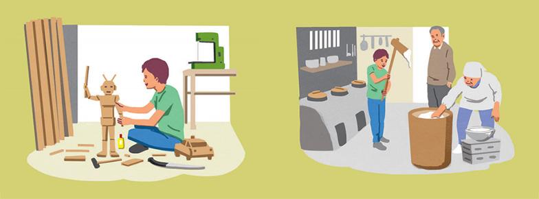 (左)小学校低学年からは資材工場に入りびたり、ものづくりに没頭。不要になった電気製品などを分解するのも好きだった(右)土間の上に釜が置かれた昔ながらの台所では、曽祖父母たちと餅をつくなど、多世代に渡る交流を楽しんでいた(イラスト/3rdeye)