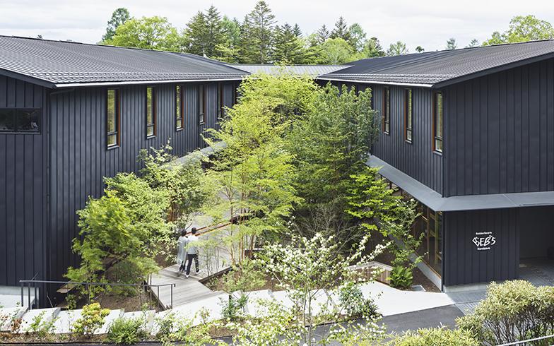 木々に囲まれた環境にふさわしい低層の建物。内部に入ったときの開放感をより鮮烈に感じさせる