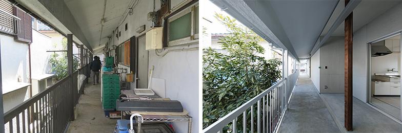 実際、レシピ上でも掲載されている「くりぬき土間」の実例(左がリフォーム前、右がレシピを使ったリフォーム後)(写真提供(左)/モクチン企画、撮影(右)/kentahasegawa)