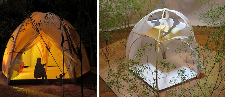 『森を浴びる家』の応募時の模型。当初は好きな場所で組み立てることができ、自然の明かりで目覚める住まいを考えていて、防災用の用途は考えていなかったといいます(写真提供/小菅村)