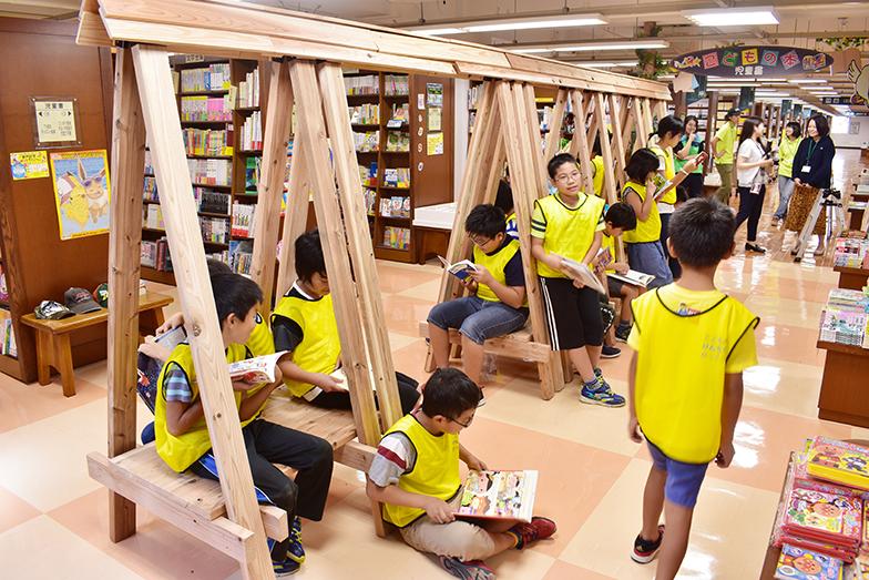 2018年の夏期特別授業でつくった子どもの読書スペース(写真提供/こどものけんちくがっこう)
