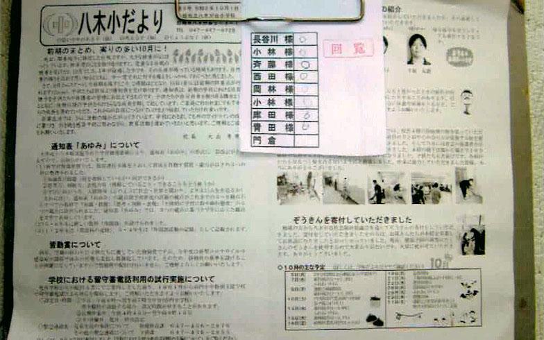 船橋市立八木が谷小学校の学校だより(写真提供/咲が丘中央自治会)