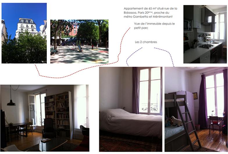 3人暮らしになった事を知人に知らせるポストカード。改装前の部屋の写真を見るとやはり暗いアパルトマンだったことが分かる(写真撮影/Camille Etivant)
