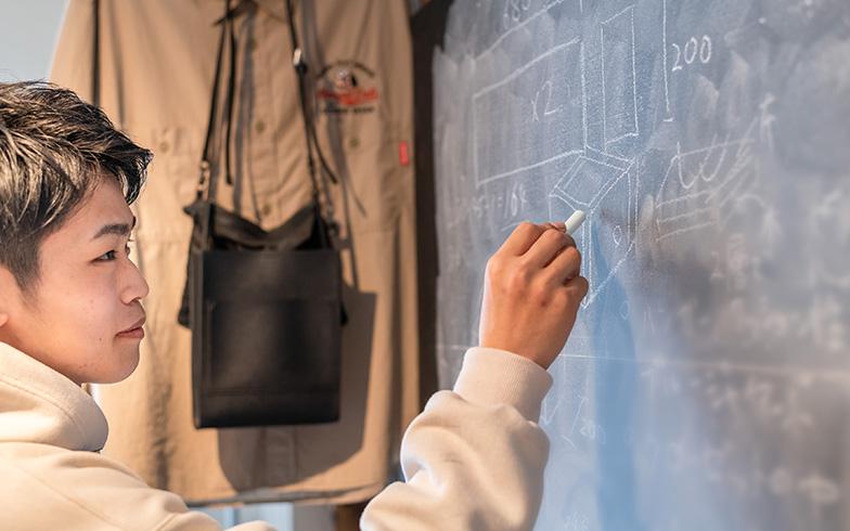 リアリティ番組シリーズ『テラスハウス』からヒントを得た黒板ボード。「机に向かうより立っていた方が思いつく」と製作しました(写真撮影/田村写真店)