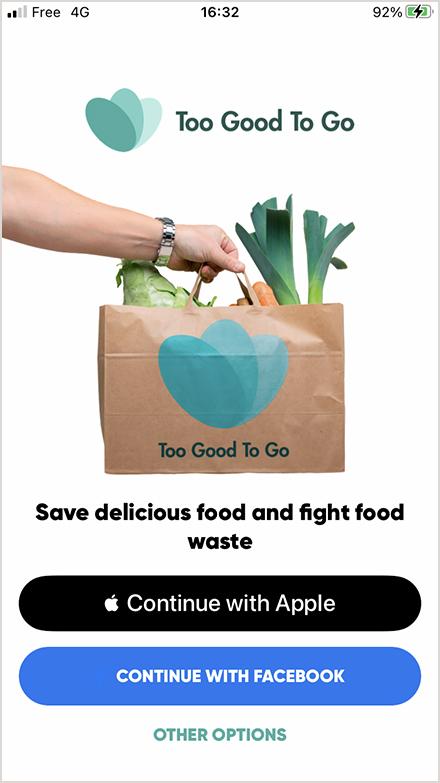 食品レスキュー・アプリ「Too good To Go」の画面(写真/アプリ画面より)