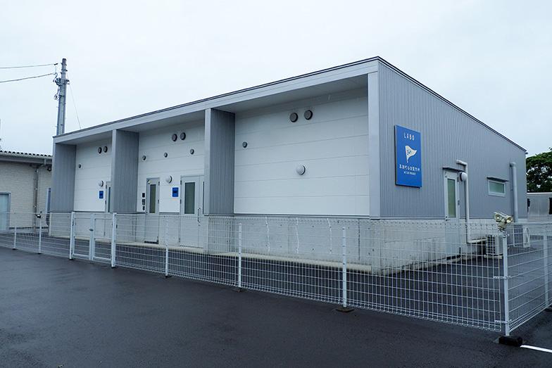 黒潮町缶詰製作所の青い看板には、「34m」と書かれた旗がシンボルマークになっている(写真撮影/藤川満)