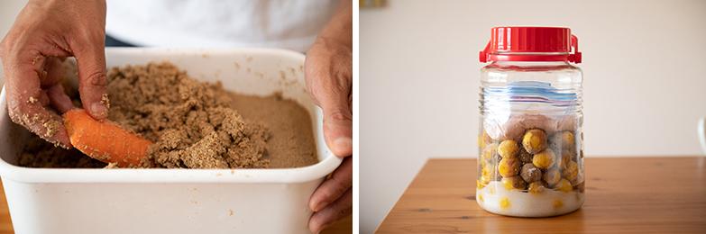 自宅でとれた稲の糠をつかってのぬか漬け(左)と梅干しづくり(右)にも挑戦中。手仕事って見ているだけでも楽しい(写真/土屋比呂夫)