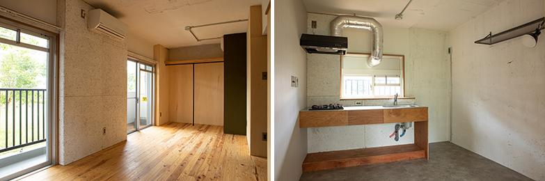 取材時に空室となっていた部屋。床には屋久杉の無垢材、キッチンは二口ガスコンロなど、今の暮らしにあわせた設備が採用されています(写真/片山貴博)