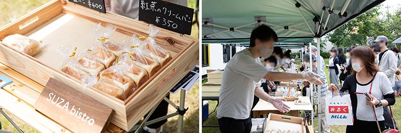 パン屋との出店交渉、どのパンを仕入れるのか、設営、販売まで住民が行います。大人の本気です!(写真/片山貴博)