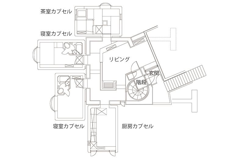 カプセルハウスKの平面図(画像提供/カプセル建築プロジェクト)