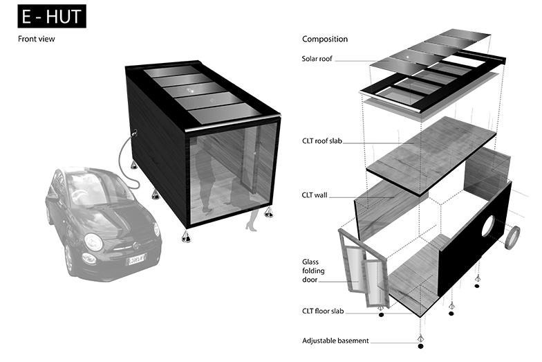 鈴木敏彦教授の提案する「E-HUT」。CLTで駆体を造り太陽光パネルを載せる。分解、移動が可能なカプセル(画像提供/鈴木敏彦研究室)