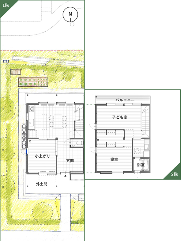 メゾネットタイプの間取り。1階は北にある玄関から南のダイニングまで、土間が段差なく続く。2階は子どもの成長に合わせて仕切りを設けることも可能(画像提供/神山町)
