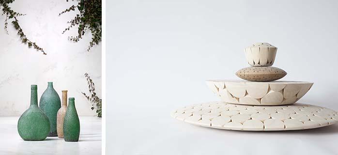 後藤司:1981年東京生まれ、2004年からミラノで活動。2014年のサローネではSaloneSatelliteで作品を発表。写真左/「Daydream」(ガラス瓶に手触りのあるテクスチャーを与え幻想的なオブジェに) 写真右/「Proximity」(丸い木の棒が3次元で接合して構成された木工作品)(画像提供/Tsukasa Goto)