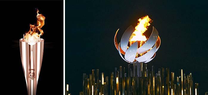 吉岡徳仁デザインの聖火リレートーチ(左) 佐藤オオキデザインの聖火台(右)(画像提供/©Tokyo 2020)