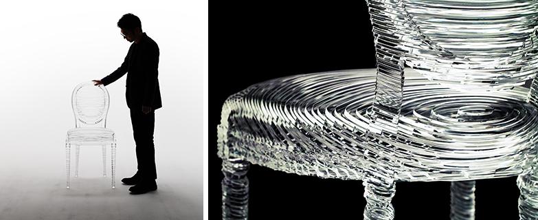 """""""Medallion of Light"""" 「不規則な光を生み出す自然のように、人間の感覚を超越する偶然性を持ったものを表現したいと思いました。光に近い素材を用いて、歴史的でありながら未来的な椅子を生み出すことを考えました」(吉岡徳仁)(画像提供/THE DIOR MEDALLION CHAIR)"""