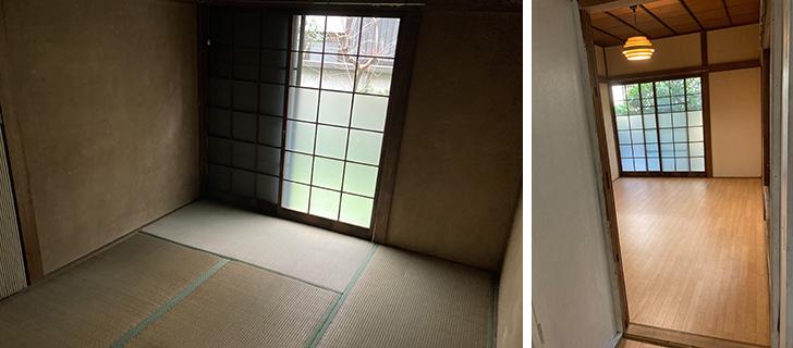 左/改修前の1F和室 右/完成してきれいになった部屋(写真提供/リノベートジャパン)