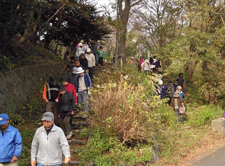 高台に避難する馬場地区の避難訓練の様子。こちらも開催は2011年(写真提供/大磯町)