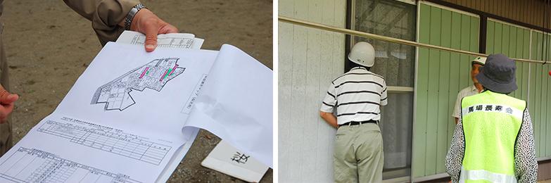 馬場自主防災会の要支援者訓練の写真。地図を使って逃げ遅れた人はいないか確認しています(写真提供/伊藤勇さん)