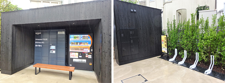 左:賃貸居住者以外も利用できる宅配ボックス。右:壁側面に居住者専用の宅配ボックス。シェアサイクルのポートも5台分用意されている(筆者撮影)